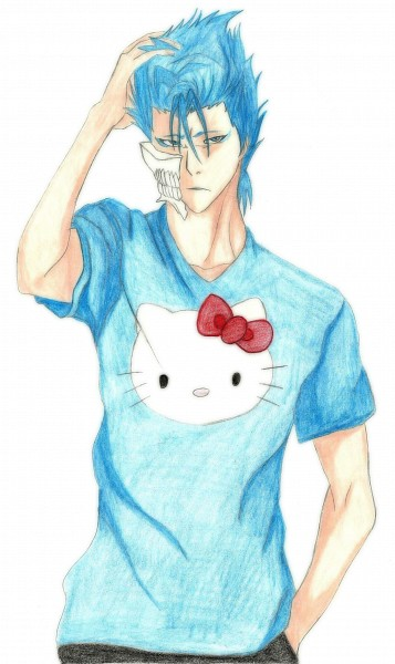 Tags: Anime, Vampirenahga, Sanrio, Hello Kitty Series, BLEACH, Hello Kitty, Grimmjow Jeagerjaques, V-neck, Hello Kitty (Parody), Colored Pencil (Medium), Mobile Wallpaper, deviantART, Traditional Media