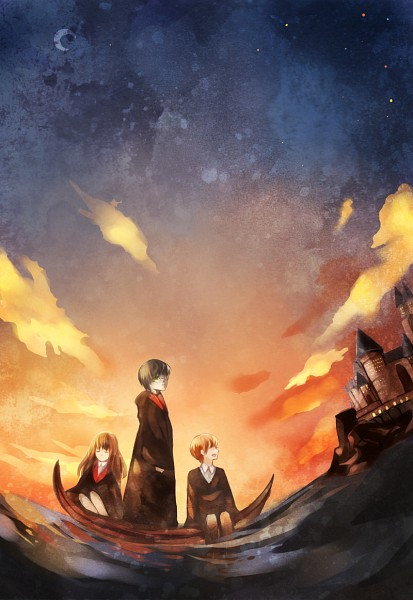 Tags: Anime, Pixiv Id 1773589, Harry Potter, Ron Weasley, Harry Potter (Character), Hermione Granger, V-neck, Boat, Lake, Pixiv, Mobile Wallpaper, Gryffindor House