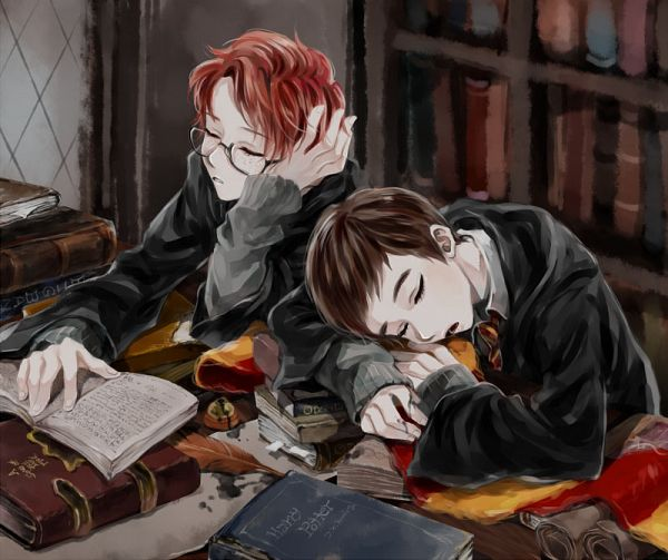 Tags: Anime, Tyusiu, Harry Potter, Percy Weasley, Oliver Wood, Quill Pen, Ink, Stack Of Books, Stationery, Bookmark, Library, Fanart, Pixiv