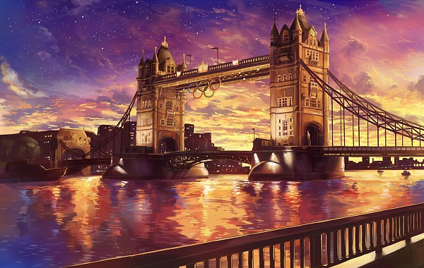 Tags: Anime, Guchico, Tower, Dusk, Boat, No Character, Londres, Railing, London Bridge, Water Reflection, Olympics