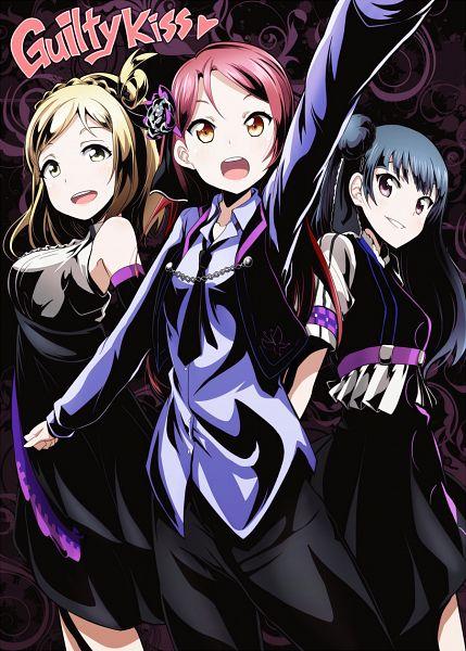 Tags: Anime, Drpow, Love Live! Sunshine!!, Tsushima Yoshiko, Sakurauchi Riko, Ohara Mari, Mobile Wallpaper, Strawberry Trapper, PNG Conversion, Guilty Kiss