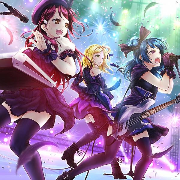 Tags: Anime, Pixiv Id 4022254, Love Live! Sunshine!!, Ohara Mari, Tsushima Yoshiko, Sakurauchi Riko, Bass Guitar, Xylophone, Fanart, Fanart From Pixiv, Pixiv, Guilty Kiss