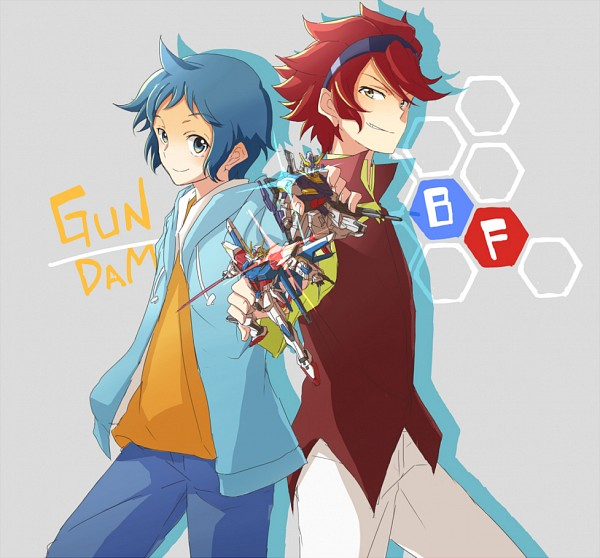 Tags: Anime, Pixiv Id 367497, Gundam Build Fighters, Reiji (Gundam Build Fighters), Iori Sei, GAT-X105B/FP Build Strike Gundam Full Package, RX-178B Build Gundam Mk-II, Fanart From Pixiv, PNG Conversion, Pixiv, Fanart