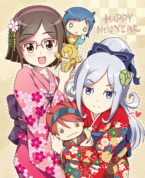 Tags: Anime, Pixiv Id 435876, Gundam Build Fighters, Reiji (Gundam Build Fighters), Iori Sei, Kousaka China, Aila Jyrkiäinen, Beargguy III, Fanart From Pixiv, PNG Conversion, Happy 2014, Pixiv, Fanart