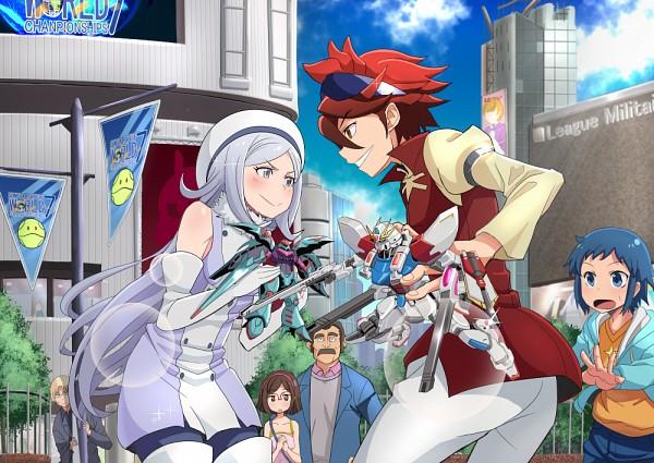 Tags: Anime, Pixiv Id 462871, Gundam Build Fighters, Kousaka China, NMX-004 Qubeley Papillon, GAT-X105B/ST Star Build Strike Gundam, Ramba Ral, Reiji (Gundam Build Fighters), Aila Jyrkiäinen, Iori Sei, Nine Barthes, Sideburns, Pixiv