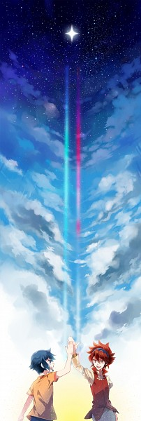 Tags: Anime, Kusunokiokonogi, Gundam Build Fighters, Reiji (Gundam Build Fighters), Iori Sei, High Five, Pixiv
