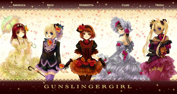 Tags: Anime, Koiwai, Gunslinger Girl, Angelica (Gunslinger Girl), Triela, Henrietta (Gunslinger Girl), Rico (Gunslinger Girl), Claes, Wallpaper, Fanart, Fanart From Pixiv, Pixiv, Facebook Cover