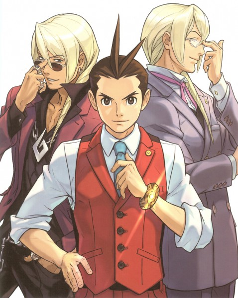 Tags: Anime, Nuri Kazuya, Capcom, Gyakuten Saiban 4, Odoroki Housuke, Garyuu Kyouya, Garyuu Kirihito, Official Art, Apollo Justice: Ace Attorney