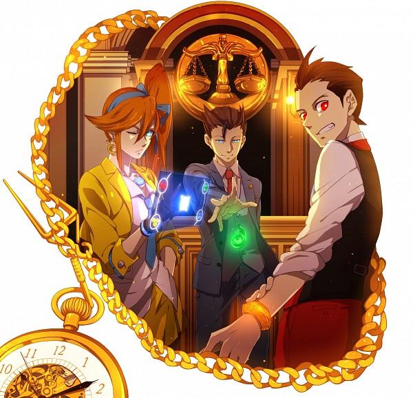 Tags: Anime, Pixiv Id 1621448, Gyakuten Saiban, Kizuki Kokone, Naruhodou Ryuuichi, Odoroki Housuke, Yellow, Fanart, Fanart From Pixiv, Pixiv, PNG Conversion, Phoenix Wright: Ace Attorney