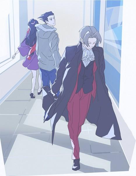 Tags: Anime, Kazune (Pixiv5519), Gyakuten Saiban, Naruhodou Ryuuichi, Mitsurugi Reiji, Ayasato Mayoi, Face Down, Walking Past Each Other, Fanart, Fanart From Pixiv, Pixiv, Phoenix Wright: Ace Attorney