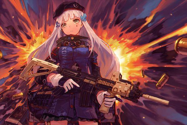 Tags: Anime, Pixiv Id 16225944, Girls Frontline, HK416 (Girls Frontline), Assault Rifle, Explosion, German Text, Pixiv, Fanart, Fanart From Pixiv