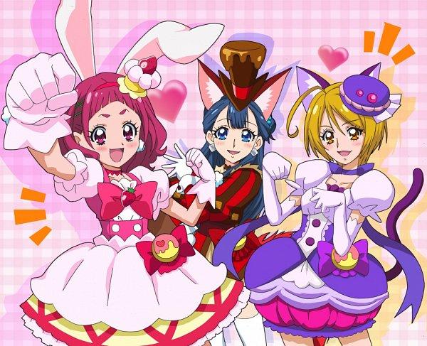 Tags: Anime, Fukushima Masaru, HUGtto! Precure, Yakushiji Saaya, Nono Hana, Kagayaki Homare, Cure Chocolat (Cosplay), Cure Macaron (Cosplay), Cure Whip (Cosplay), Fanart From Pixiv, Pixiv, Fanart