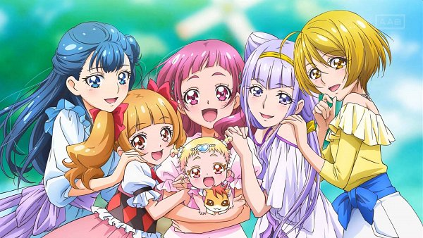Tags: Anime, Toei Animation, HUGtto! Precure, Yakushiji Saaya, Aisaki Emiru, Nono Hana, Lulu (Precure), Hariham Harry, Kagayaki Homare, Official Art