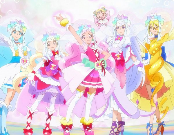 Tags: Anime, HUGtto! Precure, Cure Étoile, Aisaki Emiru, Cure Ange, Lulu (Precure), Yakushiji Saaya, Hug-tan, Nono Hana, Cure Amour, Kagayaki Homare, Cure Yell, Cure MaChérie