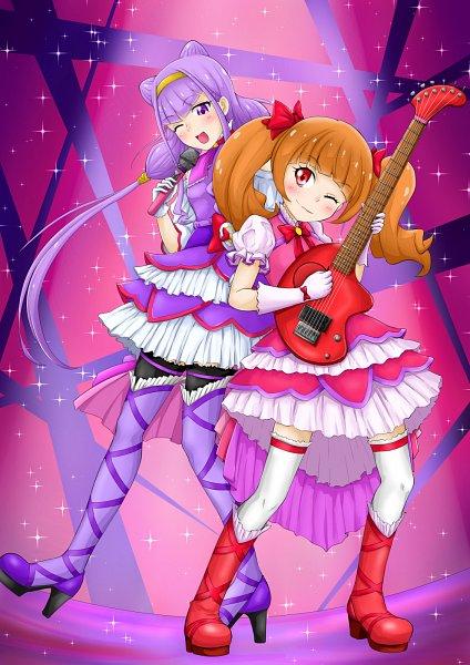 Tags: Anime, Pixiv Id 1596164, HUGtto! Precure, Lulu (Precure), Aisaki Emiru, Spotlight, Cure MaChérie (Cosplay), Cure Amour (Cosplay), Electric Guitar, Pixiv, Fanart, Fanart From Pixiv