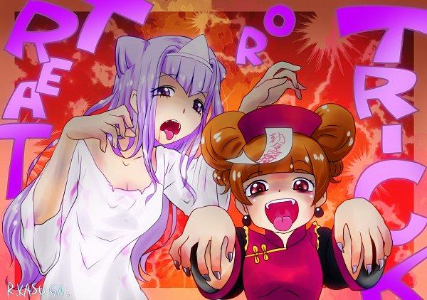 Tags: Anime, Kasuga Ruri, HUGtto! Precure, Lulu (Precure), Aisaki Emiru, Ghost Costume, Text: Trick Or Treat, Pixiv, Fanart, Fanart From Pixiv