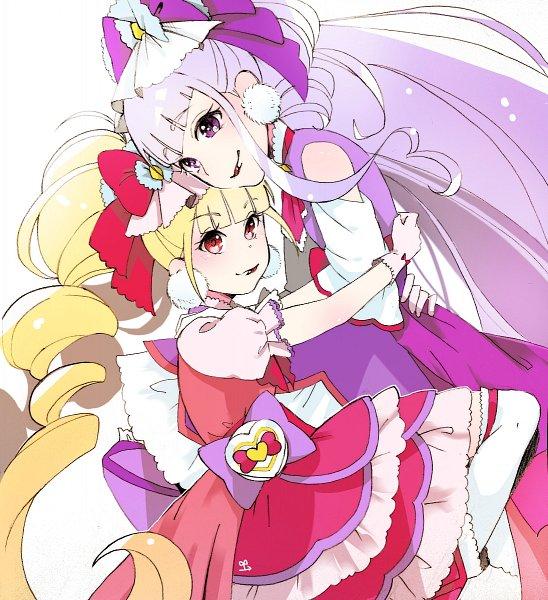 Tags: Anime, Pixiv Id 14245821, HUGtto! Precure, Aisaki Emiru, Lulu (Precure), Cure Amour, Cure MaChérie, Pixiv, Fanart, Fanart From Pixiv