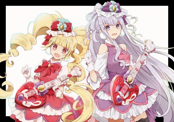 Tags: Anime, Utaori, HUGtto! Precure, Cure MaChérie, Aisaki Emiru, Lulu (Precure), Cure Amour, Fanart From Pixiv, Pixiv, Fanart