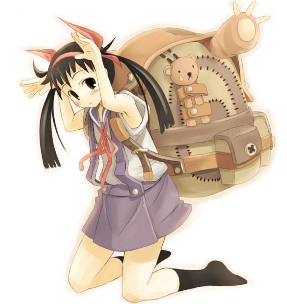 Tags: Anime, Yukiwo, Nabana, Monogatari, Hachikuji Mayoi, Bunny Ear Gesture, Pixiv