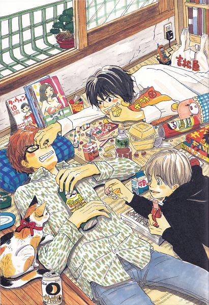 Tags: Anime, Umino Chika, Hachimitsu to Clover, Morita Shinobu, Mayama Takumi, Takemoto Yuuta, Magazine (Object), Potted Plant, Official Art, Scan, Honey And Clover