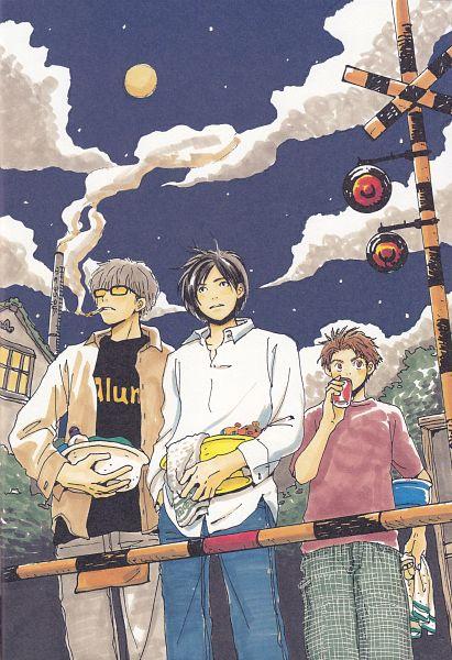 Tags: Anime, Umino Chika, Hachimitsu to Clover, Morita Shinobu, Mayama Takumi, Takemoto Yuuta, Juice, Official Art, Scan, Honey And Clover