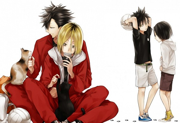 Tags: Anime, Maka Morphine, Haikyuu!!, Kuroo Tetsurou, Kozume Kenma, Playing, Volleyball Ball, Pixiv, Fanart, Fanart From Pixiv