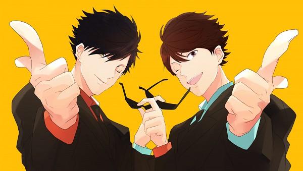 Tags: Anime, Pixiv Id 2093659, Haikyuu!!, Kuroo Tetsurou, Oikawa Tooru, Glasses In Hand, Free! (Parody), Fanart From Pixiv, PNG Conversion, Pixiv, Fanart