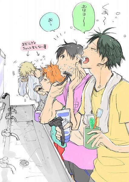 Tags: Anime, Pixiv Id 63220, Haikyuu!!, Hinata Shouyou, Yamaguchi Tadashi, Tsukishima Kei, Kageyama Tobio, Toothbrushing, Toothbrush, Toothpaste, Shaving, Fanart, Fanart From Pixiv
