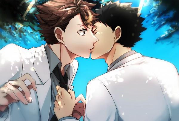 Tags: Anime, HAKUMA (poulain), Haikyuu!!, Oikawa Tooru, Iwaizumi Hajime, Grabbing Tie, Surprise Kiss, Fanart From Pixiv, Pixiv, Fanart