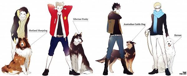 Tags: Anime, Yasai Getsu, Haikyuu!!, Akaashi Keiji, Kuroo Tetsurou, Tsukishima Kei, Bokuto Koutarou, Siberian Husky, Fanart From Pixiv, Pixiv, Facebook Cover, Fanart