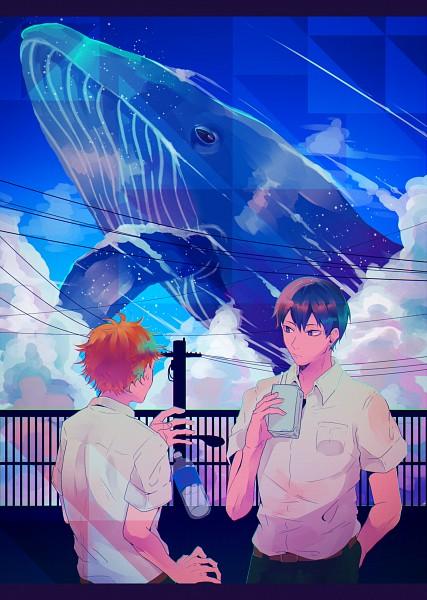 Tags: Anime, Pixiv Id 1639030, Haikyuu!!, Kageyama Tobio, Hinata Shouyou, Whale, Aquatic Animal in the Sky, PNG Conversion, Pixiv, Mobile Wallpaper, Fanart, Fanart From Pixiv