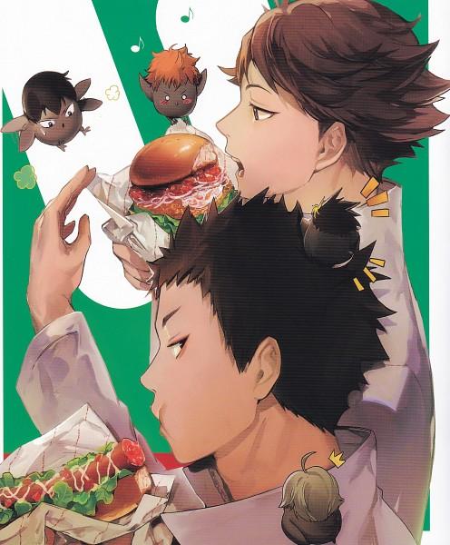 Tags: Anime, ZIS, Haikyuu!!, Haikyuu!! Food Illustration Book, Oikawa Tooru, Sugawara Koushi, Kageyama Tobio, Iwaizumi Hajime, Hinata Shouyou, Nishinoya Yuu, Fast Food, Scan