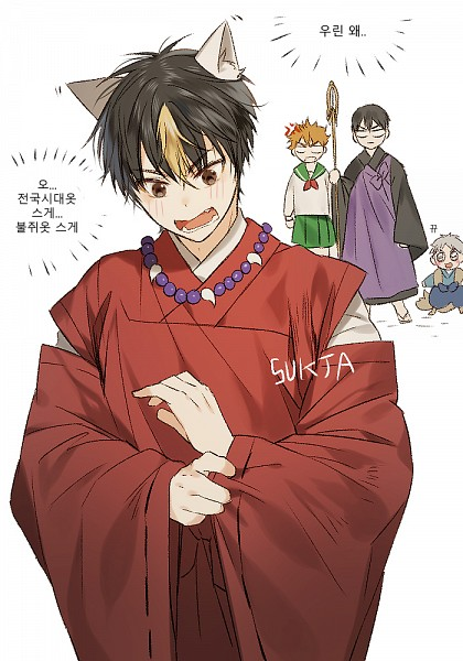 Tags: Anime, SUKJA, Haikyuu!!, Nishinoya Yuu, Kageyama Tobio, Hinata Shouyou, Shippo (Cosplay), Miroku (Cosplay), InuYasha (Character) (Cosplay), Higurashi Kagome (Cosplay), Mobile Wallpaper, Translation Request