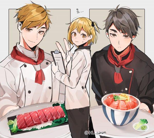 Tags: Anime, joman, Haikyuu!!, Yachi Hitoka, Miya Osamu, Miya Atsumu, Fanart, Fanart From Pixiv, PNG Conversion, Pixiv