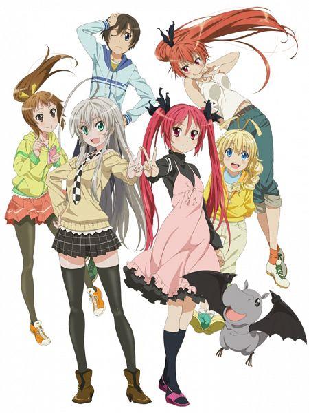 Tags: Anime, Haiyore! Nyaruko-san, Cthune, Yasaka Mahiro, Shantak-kun, Nyarlko, Kurei Tamao, Hasuta, Cthuko, Official Art, Nyaruko: Crawling With Love
