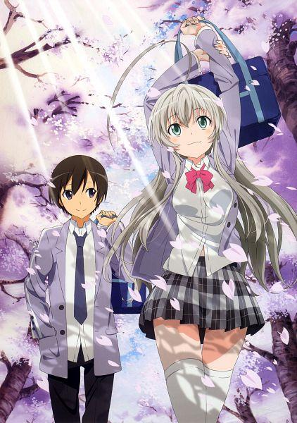 Tags: Anime, Haiyore! Nyaruko-san, Haiyore! Nyaruko-san Visual Collection, Yasaka Mahiro, Nyarlko, Official Art, Mobile Wallpaper, Scan, Nyaruko: Crawling With Love