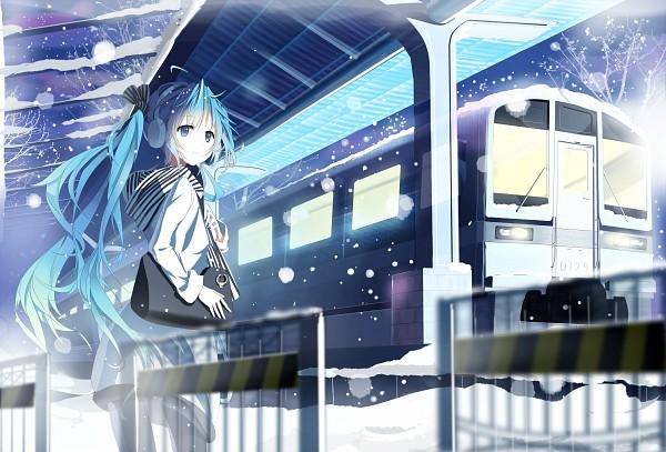 Tags: Anime, Pixiv Id 2456520, VOCALOID, Hatsune Miku, Train Station, Fanart From Pixiv, Hajimete no Koi ga Owaru Toki, Fanart, Pixiv, Revision, When The First Love Ends