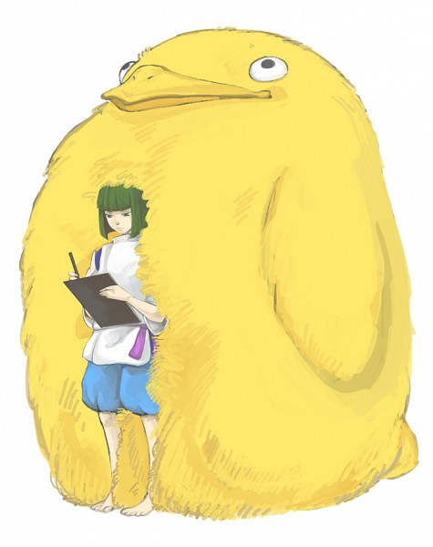 Tags: Anime, Noja, Studio Ghibli, Sen to Chihiro no Kamikakushi, Chicken Spirit, Haku (Sen to Chihiro no Kamikakushi), Writing, Fanart, Pixiv, Spirit Of The Kohaku River