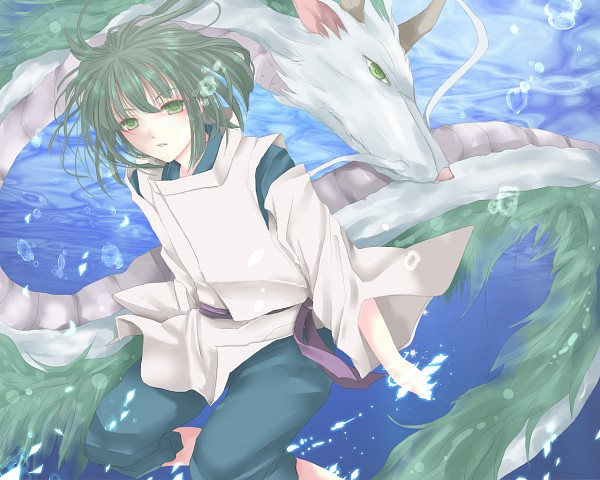 Tags: Anime, Rara419, Studio Ghibli, Sen to Chihiro no Kamikakushi, Haku (Sen to Chihiro no Kamikakushi), Haku (Dragon), Chinese Dragon, Fanart, Pixiv, Spirit Of The Kohaku River