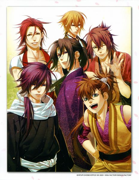 Tags: Anime, Kazuki Yone, IDEA FACTORY, Hakuouki Shinsengumi Kitan, Saitou Hajime (Hakuouki), Hijikata Toshizou (Hakuouki), Kazama Chikage, Harada Sanosuke (Hakuouki), Toudou Heisuke (Hakuouki), Okita Souji (Hakuouki), Official Art, Scan, Demon Of The Fleeting Blossom
