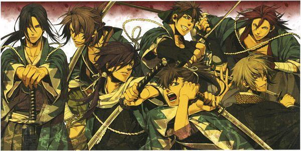 Tags: Anime, Kazuki Yone, IDEA FACTORY, Hakuouki Shinsengumi Kitan, Toudou Heisuke (Hakuouki), Okita Souji (Hakuouki), Saitou Hajime (Hakuouki), Nagakura Shinpachi (Hakuouki), Hijikata Toshizou (Hakuouki), Kazama Chikage, Harada Sanosuke (Hakuouki), Facebook Cover, Official Art, Demon Of The Fleeting Blossom