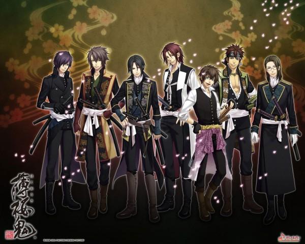 Tags: Anime, Kazuki Yone, IDEA FACTORY, Hakuouki Shinsengumi Kitan, Saitou Hajime (Hakuouki), Keisuke Sannan, Hijikata Toshizou (Hakuouki), Nagakura Shinpachi (Hakuouki), Harada Sanosuke (Hakuouki), Toudou Heisuke (Hakuouki), Okita Souji (Hakuouki), Wallpaper, Demon Of The Fleeting Blossom