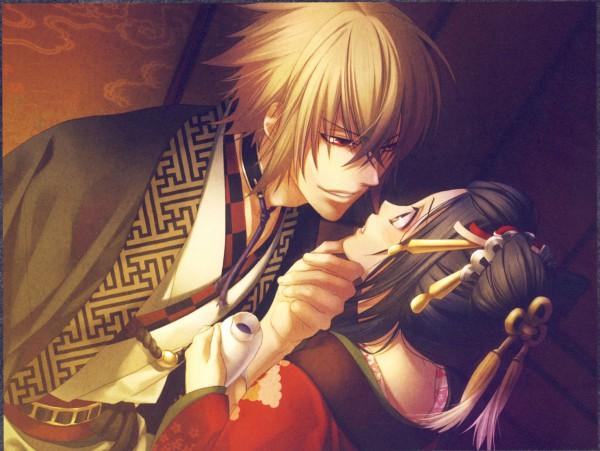 Tags: Anime, Kazuki Yone, IDEA FACTORY, Hakuouki Shinsengumi Kitan, Kazama Chikage, Yukimura Chizuru, Sayagata, Hair Jewelry, CG Art, Official Art, Demon Of The Fleeting Blossom