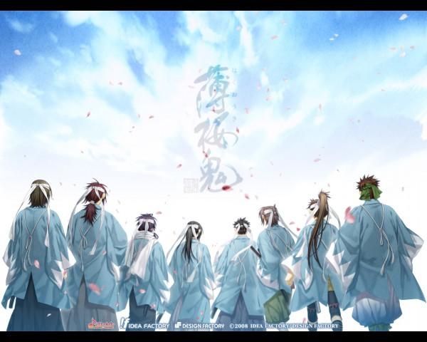 Tags: Anime, Kazuki Yone, IDEA FACTORY, Hakuouki Shinsengumi Kitan, Okita Souji (Hakuouki), Kondou Isami (Hakuouki), Saitou Hajime (Hakuouki), Keisuke Sannan, Hijikata Toshizou (Hakuouki), Nagakura Shinpachi (Hakuouki), Harada Sanosuke (Hakuouki), Toudou Heisuke (Hakuouki), Wallpaper, Demon Of The Fleeting Blossom
