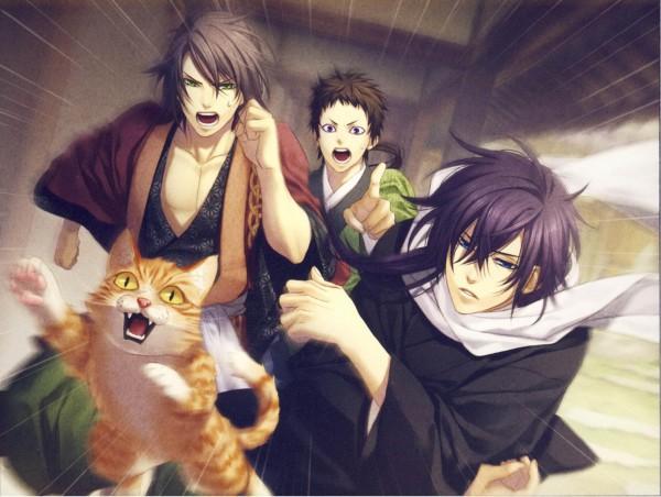 Tags: Anime, Kazuki Yone, IDEA FACTORY, Hakuouki Shinsengumi Kitan, Okita Souji (Hakuouki), Yamazaki Susumu (Hakuouki), Saitou Hajime (Hakuouki), Chasing, Demon Of The Fleeting Blossom