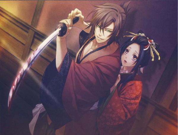 Tags: Anime, Kazuki Yone, IDEA FACTORY, Hakuouki Shinsengumi Kitan, Okita Souji (Hakuouki), Yukimura Chizuru, Official Art, CG Art, Demon Of The Fleeting Blossom