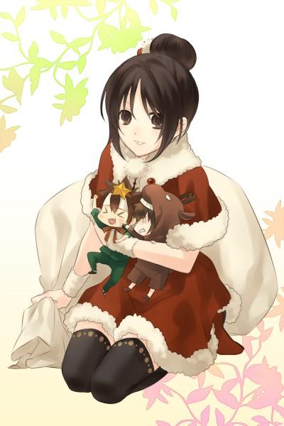Tags: Anime, Eto Ichika, Hakuouki Shinsengumi Kitan, Nagakura Shinpachi (Hakuouki), Toudou Heisuke (Hakuouki), Yukimura Chizuru, Reindeer Costume, Pixiv, Mobile Wallpaper, Demon Of The Fleeting Blossom