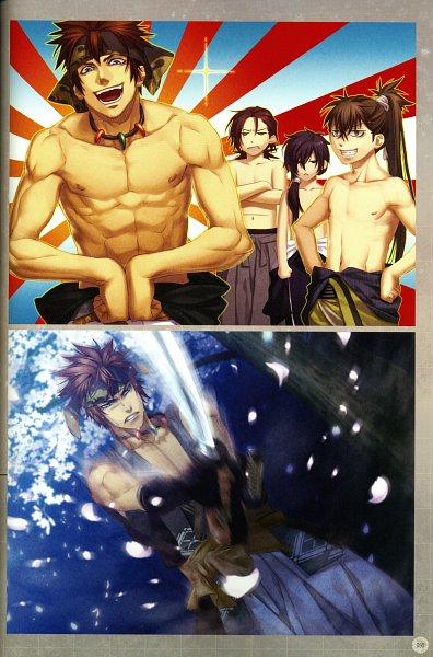 Tags: Anime, IDEA FACTORY, Otomate, DESIGN FACTORY, Hakuouki Shinsengumi Kitan, Harada Sanosuke (Hakuouki), Toudou Heisuke (Hakuouki), Saitou Hajime (Hakuouki), Nagakura Shinpachi (Hakuouki), Motion Blur, Rising Sun Motif, Self Scanned, Scan, Demon Of The Fleeting Blossom
