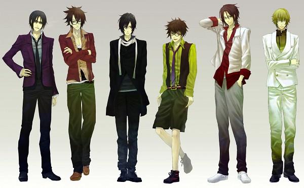 Tags: Anime, Machi555, IDEA FACTORY, Hakuouki Shinsengumi Kitan, Harada Sanosuke (Hakuouki), Okita Souji (Hakuouki), Toudou Heisuke (Hakuouki), Saitou Hajime (Hakuouki), Hijikata Toshizou (Hakuouki), Kazama Chikage, Purple Jacket, Contemporary, Fanart, Demon Of The Fleeting Blossom