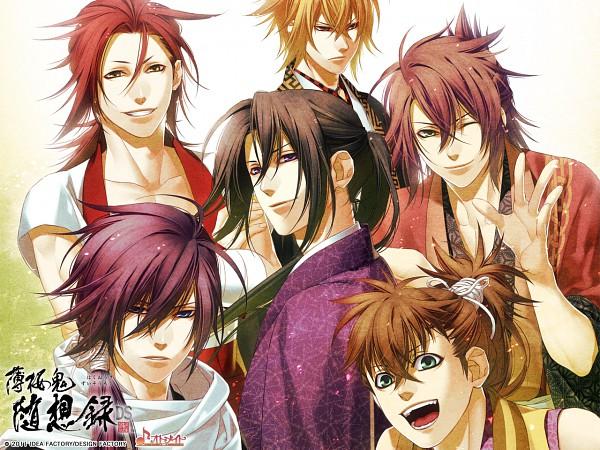 Tags: Anime, Kazuki Yone, IDEA FACTORY, Hakuouki Shinsengumi Kitan, Kazama Chikage, Harada Sanosuke (Hakuouki), Toudou Heisuke (Hakuouki), Okita Souji (Hakuouki), Saitou Hajime (Hakuouki), Hijikata Toshizou (Hakuouki), Wallpaper, Demon Of The Fleeting Blossom